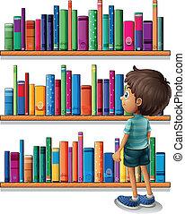 前面, 男孩, 書架, 圖書館