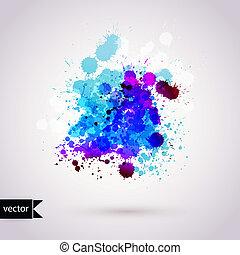 剪貼簿, 矢量, 手, 背景, 水彩, 插圖, 作品, elements., 水彩, 摘要, 畫, 潮濕, 瑕疵, 顏色, paper.