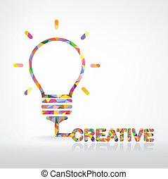 創造性, 燈泡, 光, 想法, 概念