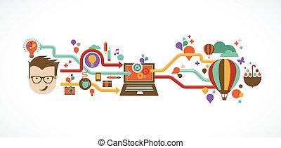 創造性, infographic, 設計, 想法, 革新