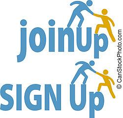 加入, 人們, 向上, 簽署, 成員, 幫助, 組, 圖象