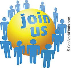 加入, 公司, 人們, 組, 社會
