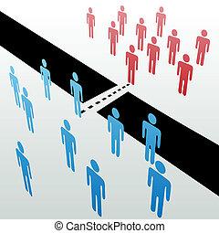 加入, 分開, 人們, 一起, 合并, 團結, 組