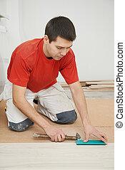 加入, 工人, 木匠, parket, 地板