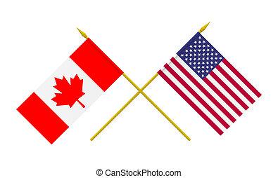 加拿大, 旗, 美國