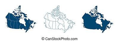 加拿大, drawing., mercator, 矢量, outline., projection., 充滿, 簡單, 地圖