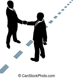 加點, 商業界人士, 握手, 線, 同意