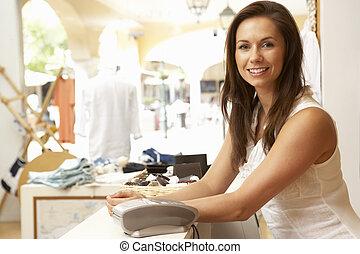 助理, 銷售, 女性, 檢驗, 服裝店