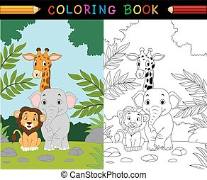 動物, 卡通, 著色, 旅行隊, 書