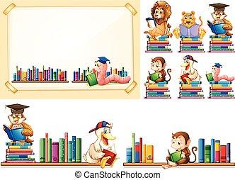 動物, 很多, 框架, 紙, 書, 閱讀