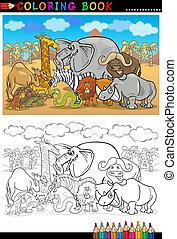 動物, 書, 荒野, 著色, 卡通, 旅行隊
