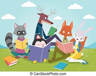 動物, 書, 閱讀, 漂亮