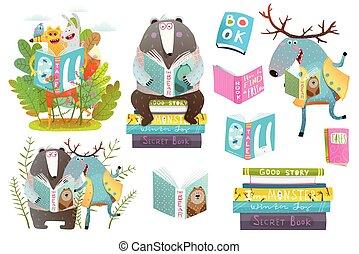動物, 書, 集合, 閱讀, 聰明