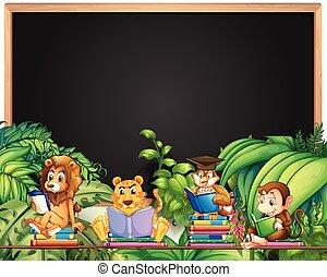 動物, 框架, 書, 設計, 荒野, 閱讀