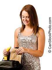包裝, 女孩, 被隔离, 青少年, 健康的午餐, 學校, 白色