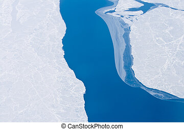 北極, 北方, 變暖和, 冰, 打開, 桿, 全球, 海洋水
