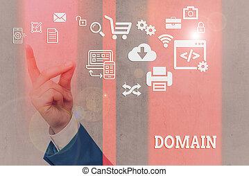 區域, 統治者, 寫, 正文, domain., 詞, 地域, 特殊, 概念, 或者, 事務, 控制, government.
