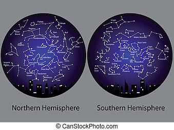 半球, 南方的星座, 北方