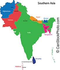 南方, 地圖, 亞洲