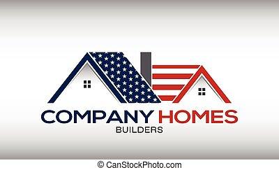 卡片, 事務, 房子, 標識語, 美國人