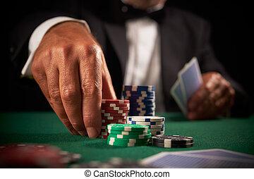 卡片, 娛樂場, 表演者, 晶片, 賭博