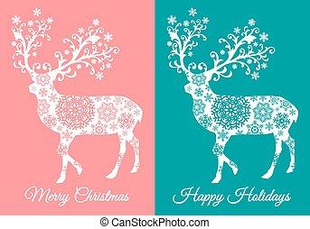 卡片, 鹿, 矢量, 聖誕節