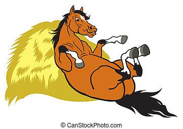 卡通, 休息, 馬