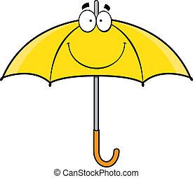 卡通, 傘, 微笑