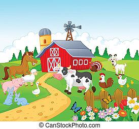 卡通, 動物, 背景, 農場