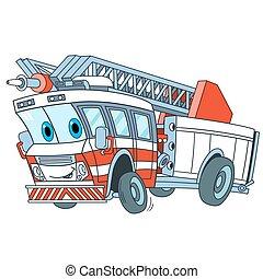 卡通, 卡車, 火