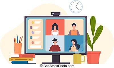 卡通, 影像, 會議, 概念, 套間, 遙遠, 在網上, 矢量, 或者, 通訊, 實際上, 工作, 配合, 朋友, 軟件, 辦公室, 電腦, 同事, 組, 會見, conferencing., 桌面