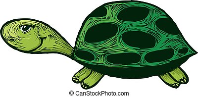 卡通, 微笑, 海龜