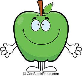 卡通, 微笑, 蘋果