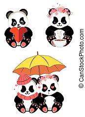 卡通, 心, 熊貓
