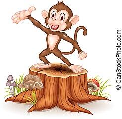 卡通, 愉快, 猴子, 提出