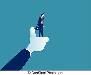 卡通, 拇指, 字, 摘要, 最好, 商人, 矢量, 經理, 事務, 工人, illustration., 公司, 向上。, 概念