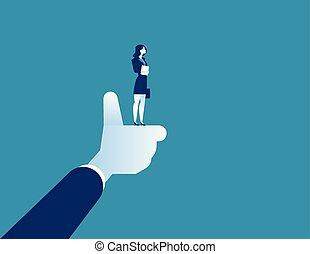 卡通, 拇指, 字, 摘要, 最好, 從事工商業的女性, 矢量, 經理, 事務, 工人, illustration., 公司, 向上。, 概念