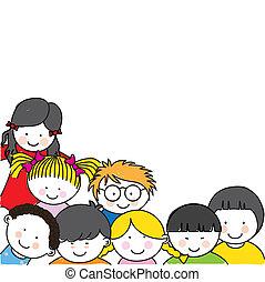 卡通, 框架, 孩子, 漂亮