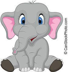 卡通, 漂亮, 坐, 大象