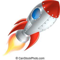 卡通, 火箭, 太空船