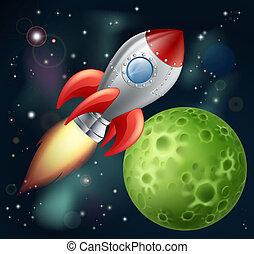 卡通, 火箭, 空間