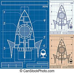 卡通, 火箭, 藍圖