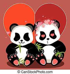 卡通, 熊貓, 心