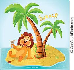 卡通, 獅子休息, 島