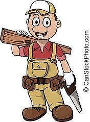卡通, 男孩, 木匠