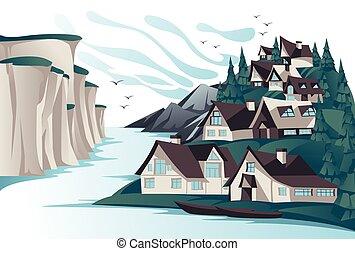 卡通, 矢量, openspace, 北方, travel., illustration., 海岸, ecotourism, 夏天, 村莊, 風景。, 岩石, 假期, 傳統