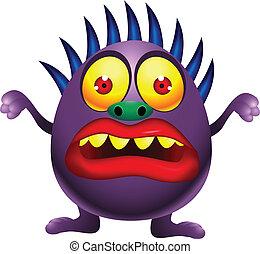 卡通, 紫色, 怪物