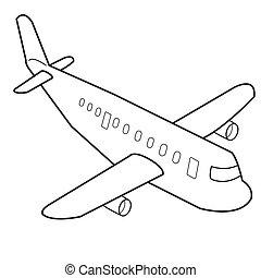 卡通, 飛機, 矢量, outline