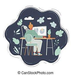 卡通, night., 超時, 工作場所, 工作, 人, 用盡, 插圖, 辦公室, dark.