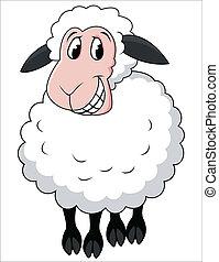 卡通, sheep, 微笑